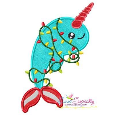 Christmas Unicorn Dolphin Applique Design