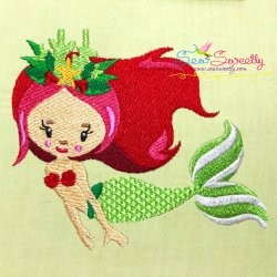 Christmas Mermaid-4 Embroidery Design