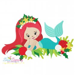 Christmas Mermaid-1 Embroidery Design
