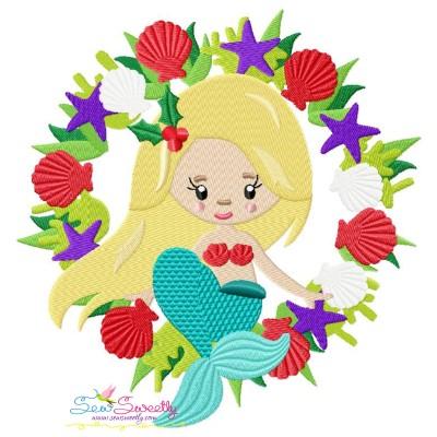 Christmas Mermaid Wreath Embroidery Design