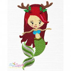 Christmas Mermaid-3 Embroidery Design