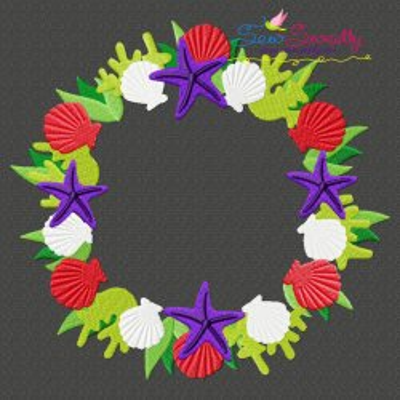 Christmas Ocean Wreath Embroidery Design