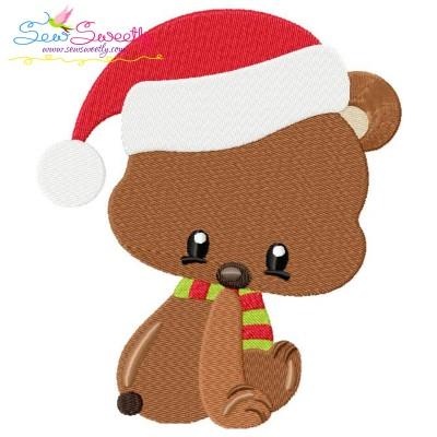 Woodland Christmas Bear Embroidery Design