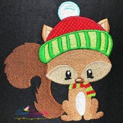 Woodland Christmas Squirrel Embroidery Design