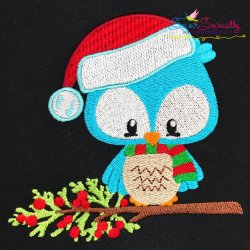 Woodland Christmas Owl Embroidery Design