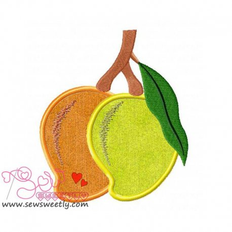 Mangoes Applique Design Pattern- Category- Fruits And Vegetables- 1