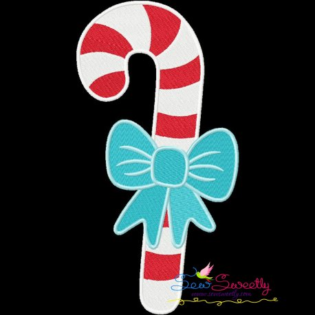 Candy Cane Bow Embroidery Design