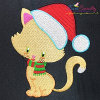 Christmas Kitty Cat Scarf Embroidery Design