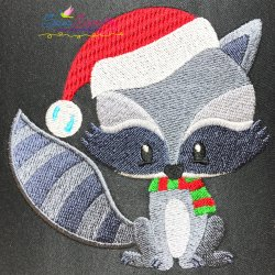 Woodland Christmas Raccoon Embroidery Design