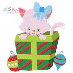 Christmas Kitty Cat Gift Embroidery Design