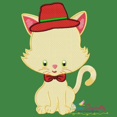 Christmas Kitty Boy Embroidery Design