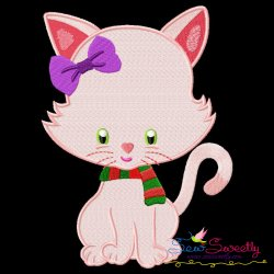 Christmas Kitty Girl Embroidery Design