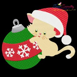 Christmas Kitty Ornament Embroidery Design