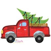 Christmas Tree Truck Applique Design