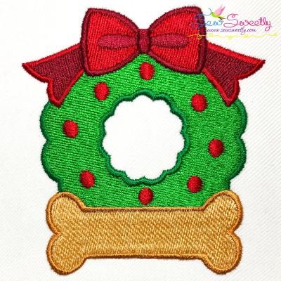 Christmas Wreath Bone Embroidery Design