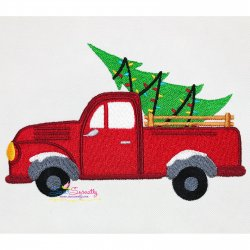 Christmas Tree Truck Embroidery Design