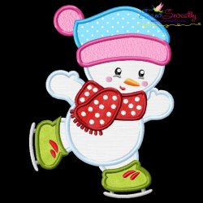 Christmas Ice Skating Little Snowman-5 Applique Design