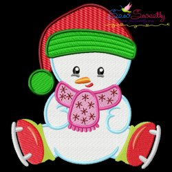 Christmas Ice Skating Little Snowman-4 Embroidery Design