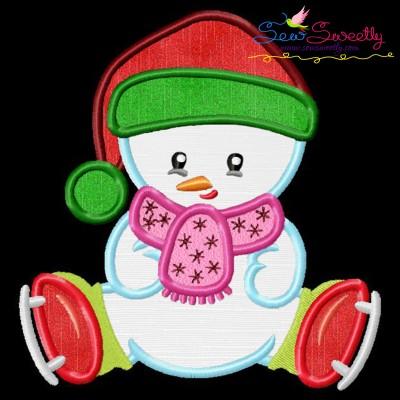 Christmas Ice Skating Little Snowman-4 Applique Design