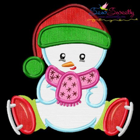 Christmas Ice Skating Little Snowman-4 Applique Design Pattern- Category- Christmas Designs- 1