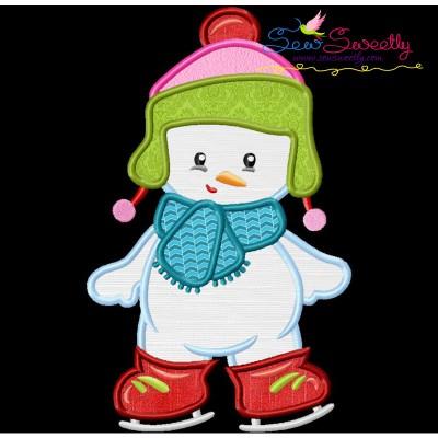 Christmas Ice Skating Little Snowman-3 Applique Design