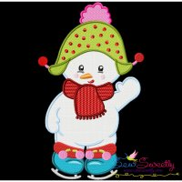 Christmas Ice Skating Little Snowman-2 Embroidery Design