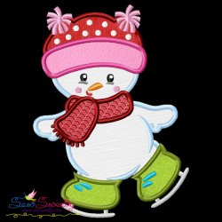 Christmas Ice Skating Little Snowman-1 Applique Design