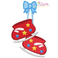 Christmas Ice Skating Shoes With Bow Embroidery Design