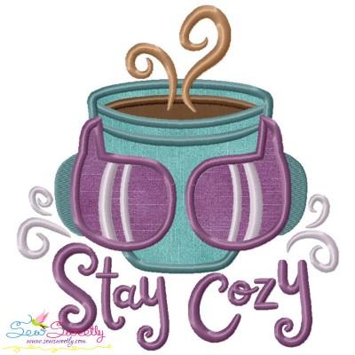 Stay Cozy Coffee Cup Applique Design