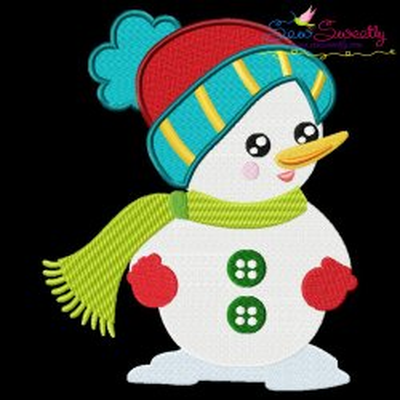 Cute Christmas Snowman-1 Embroidery Design