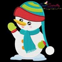 Cute Christmas Snowman-2 Embroidery Design