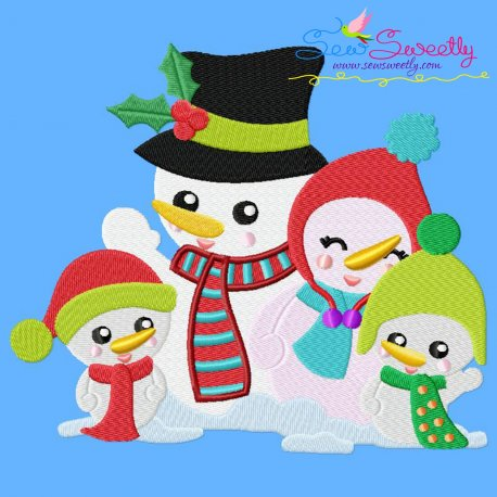 Christmas Snowman Family Embroidery Design