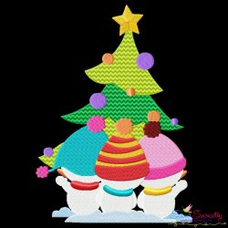 Christmas Tree And Snowman Kids Embroidery Design