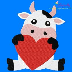 Valentine Cow Embroidery Design