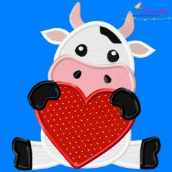 Valentine Cow Applique Design