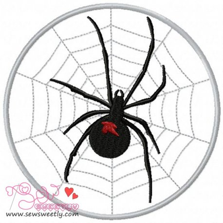 Black Widow on Web Embroidery Design Pattern- Category- Insects And Bugs Designs- 1