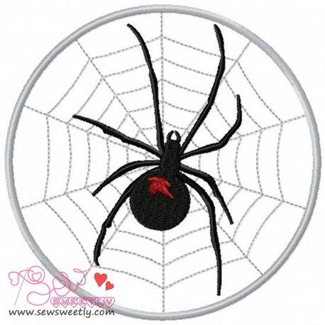 Black Widow on Web Embroidery Design