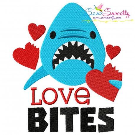 Shark Love Bites Valentine Lettering Embroidery Design Pattern- Category- Valentine's Day Designs- 1