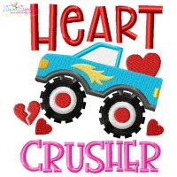 Heart Crusher Monster Truck Valentine Lettering Embroidery Design