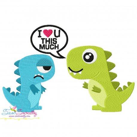 I Love You- Dinosaur Couple Embroidery Design