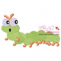 Green Caterpillar Embroidery Design