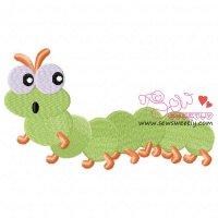 Green Caterpillar Embroidery Design