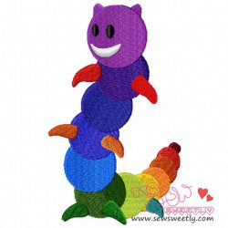 Rainbow Caterpillar Embroidery Design