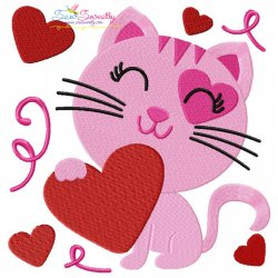 Valentine Heart Kitty Cat Embroidery Design
