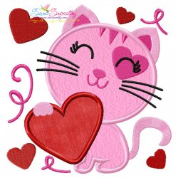 Valentine Heart Kitty Cat Applique Design