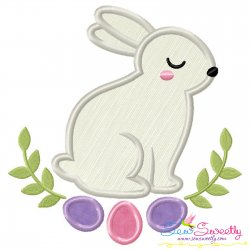 Bunny Leaves And Eggs Applique Design