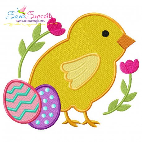 Easter Chick Eggs Embroidery Design