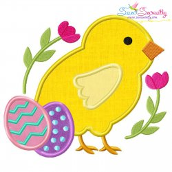 Easter Chick Eggs Applique Design