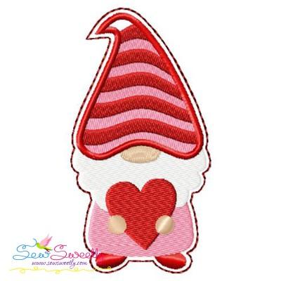 Gnome Valentine Love Ornament ITH Embroidery Design Pattern- Category- Valentine's Day Designs- 1