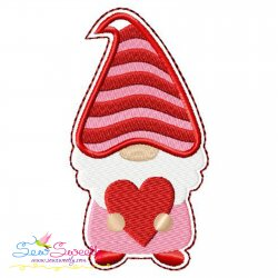 Gnome Valentine Love Ornament ITH Embroidery Design
